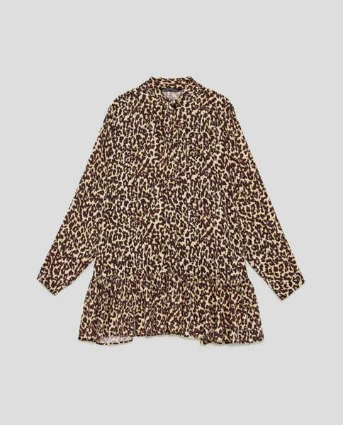 Blouse léopard, Zara, 23,97 au lieu de 39,95 euros
