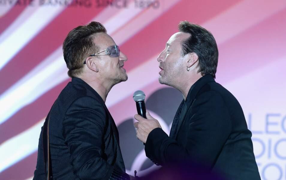 Bono et Julian Lennon (fils de John)