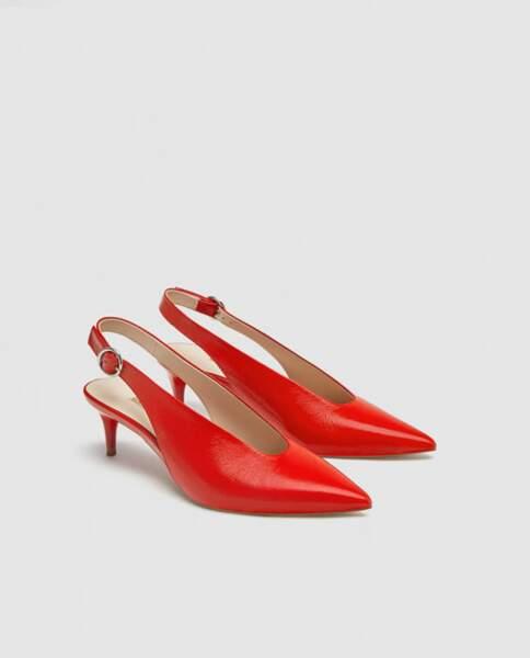 Chaussures à talons en cuir ouvertes à l'arrière, Zara, 49,95 euros