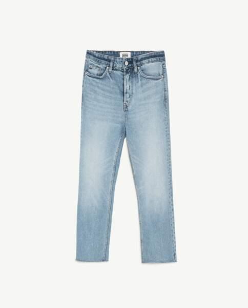 Jean droit taille haute, Zara, 29,95 euros