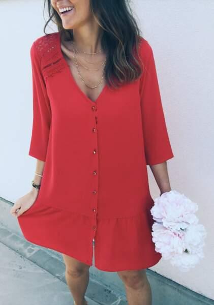Robe Esther rouge, Easy Clothes, 29 euros