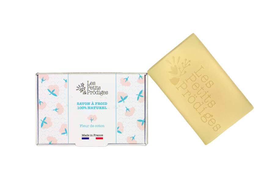 Savon solide à la fleur de coton, fabriqué en France à base d'ingrédients naturels, Les Petits Prödiges, 7,90€ les 100 g