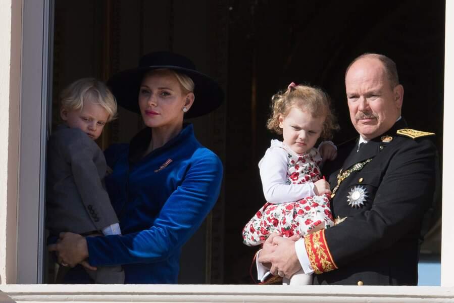 Fête nationale à Monaco - Charlène et Albert de Monaco avec leurs jumeaux Jacques et Gabriella