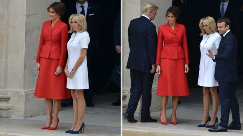 PHOTOS Brigitte Macron, en court et blanc, et Melania Trump, en rouge et long, ont rivalisé d'élégance