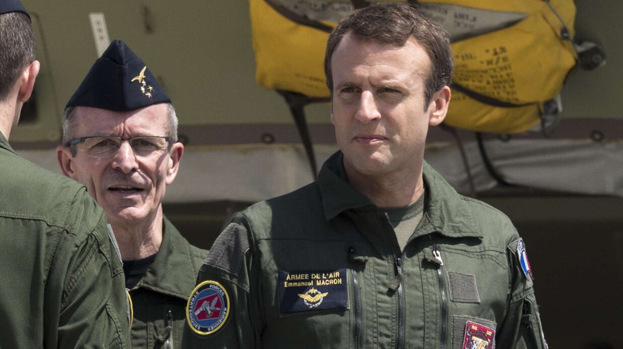 PHOTOS Emma­nuel Macron en uniforme d'avia­teur, façon Tom Cruise dans Top Gun