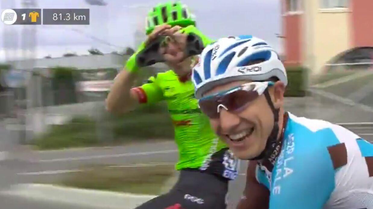 Le cycliste français Cyril Gautier fait sa demande en mariage pendant le Tour de France