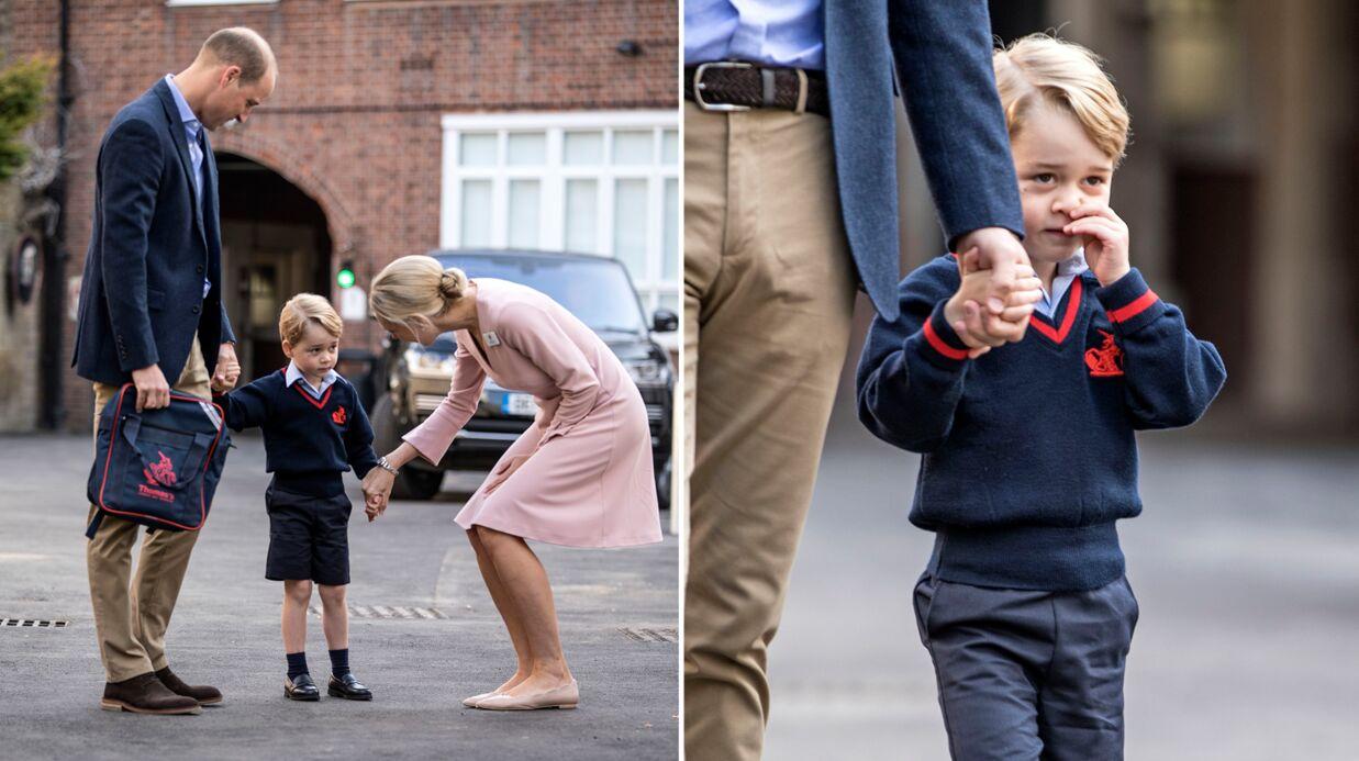 PHOTOS Le prince George fait sa première rentrée des classes accompagné par William