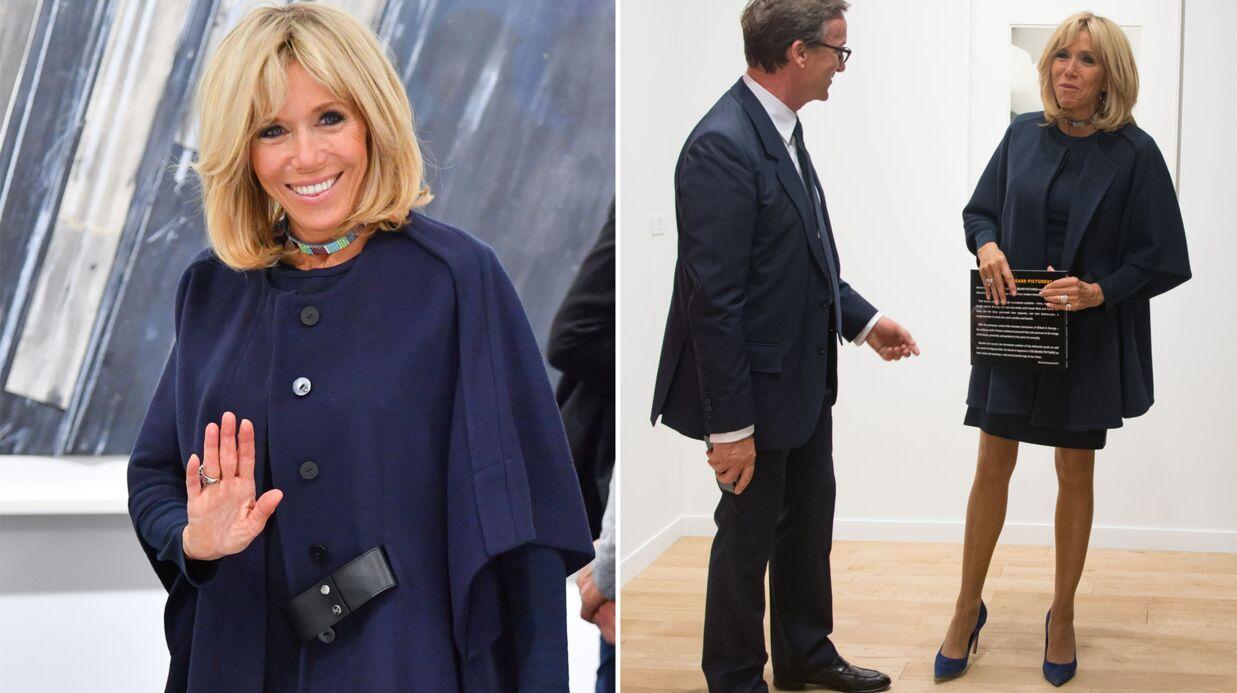 PHOTOS Brigitte Macron ultra chic en mini-robe bleu nuit pour l'ouverture de la FIAC