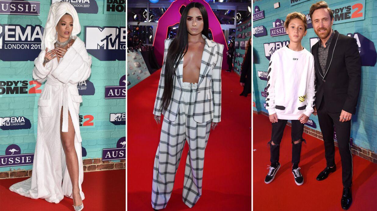 PHOTOS MTV EMA 2017: Rita Ora en peignoir, Demi Lovato topless et David Guetta avec son fils