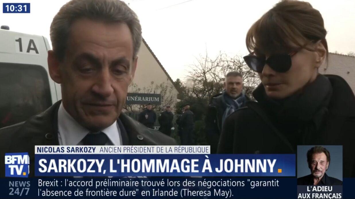 VIDEO Mort de Johnny Hallyday: Nicolas Sarkozy rend hommage au chanteur à la sortie du funérarium