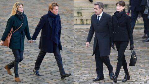 Laurent Delahousse, Alice Taglioni, Nicolas Sarkozy aux obsèques de Jean d'Ormesson