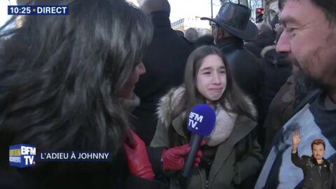 Mort de Johnny Hallyday: les larmes d'une fan de 13 ans, bouleversée lors de l'hommage populaire