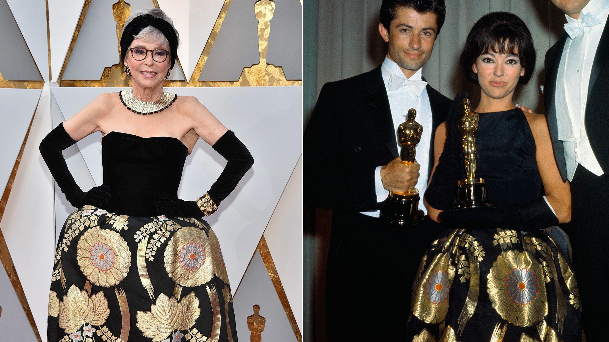 c90703f8433 PHOTOS Oscars 2018   Rita Moreno ressort la robe qu elle portait aux Oscars  de 1962… en version plus sexy ! - Voici