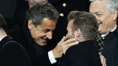 PHOTOS David Beckham très complice avec Nicolas Sarkozy et Bella Hadid dans les tribunes du match PSG-Real Madrid