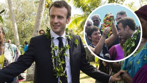 PHOTOS Emmanuel Macron pose avec une couronne de fleurs sur la tête, en visite en Nouvelle-Calédonie