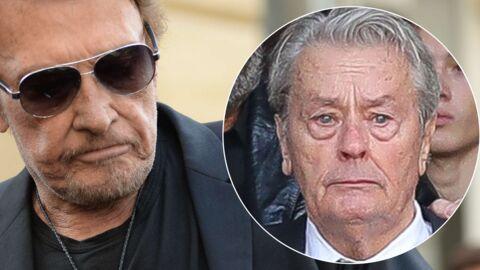 Johnny Hallyday: son geste très émouvant pour Alain Delon en larmes lors des obsèques de Mireille Darc