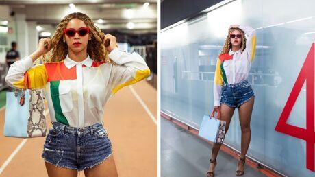 Comme Beyoncé, on craque pour le short en jean et la chemise colorblock