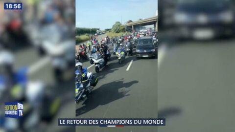 VIDEO Victoire des Bleus: l'impressionnant cortège qui suit le bus de l'équipe de France