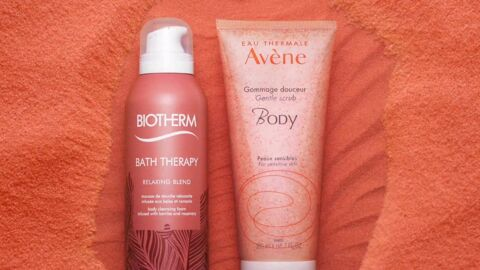 Nos beauty crushs: la Mousse de Douche Bath Therapy Biotherm et le Gommage Douceur Body Avène