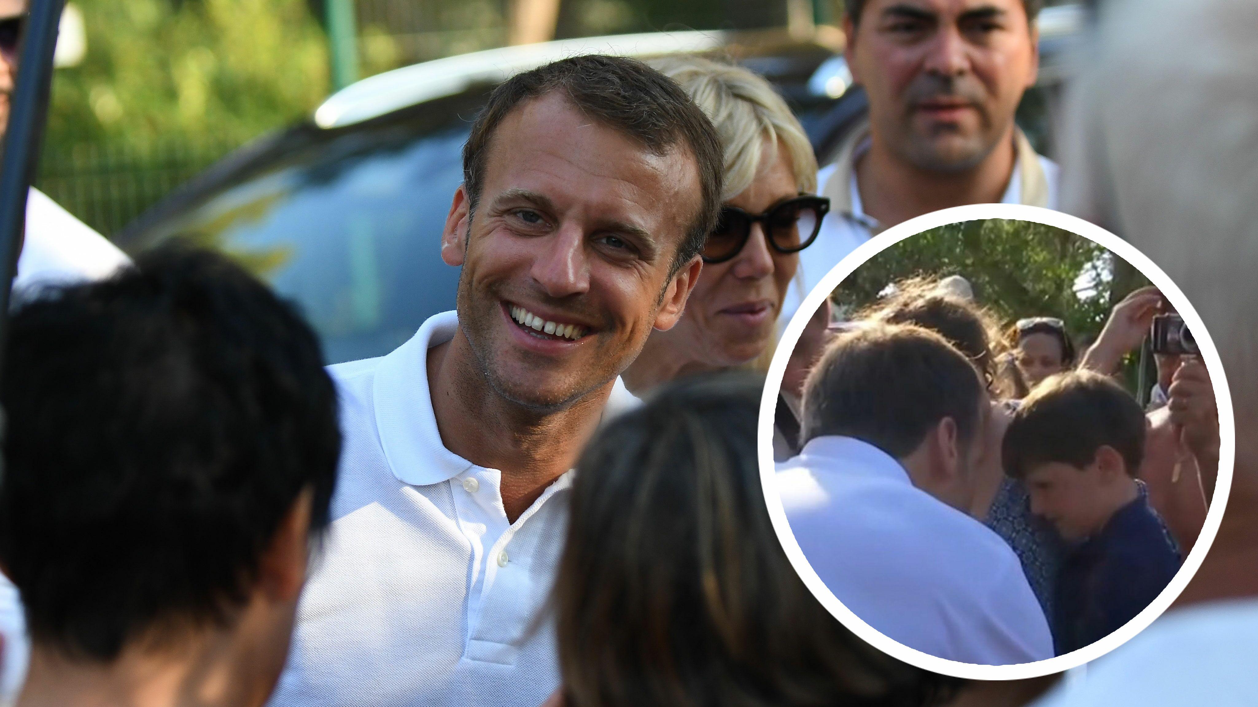 Emmanuel Macron   sa rencontre avec le petit Maxime était préméditée - Voici 4adb6355c62