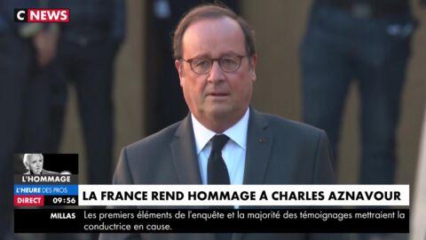 Hommage national à Charles Aznavour: François Hollande sans Julie Gayet aux Invalides