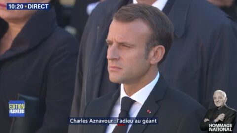 VIDEO Hommage national à Charles Aznavour: l'arrivée solennelle d'Emmanuel Macron, sans Brigitte