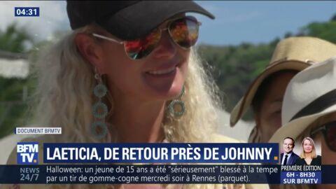 VIDEO Laeticia Hallyday émue aux larmes, chante sur la tombe de Johnny avec ses filles Jade et Joy