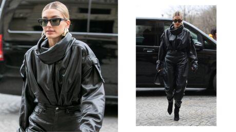 Fashion Week – Hailey Baldwin Bieber canon en total look en cuir