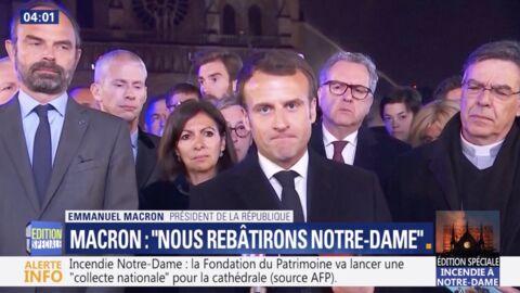 VIDEO L'émotion d'Emmanuel Macron après l'incendie dévastateur de Notre-Dame de Paris