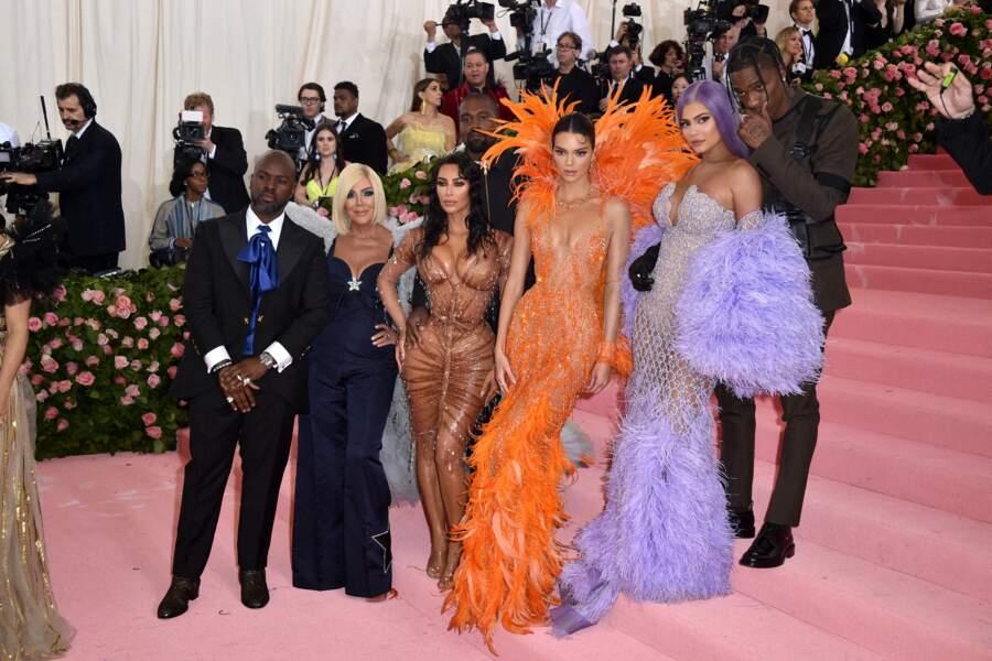 Corey Gamble, Kris Jenner, Kanye West, Kim Kardashian, Kendall Jenner, Kylie Jenner et Travis Scott