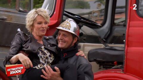 VIDEO Affaire conlue: Sophie Davant se jette dans les bras d'un pompier!