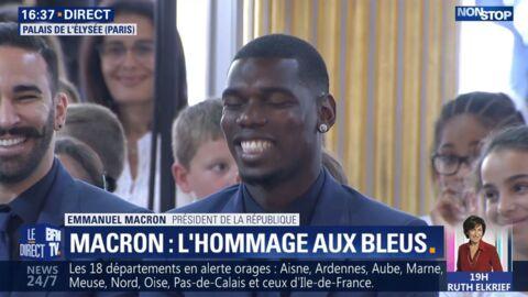 VIDEO Légion d'honneur de l'équipe de France: pourquoi Emmanuel Macron a provoqué le fou rire d'Adil Rami et Paul Pogba
