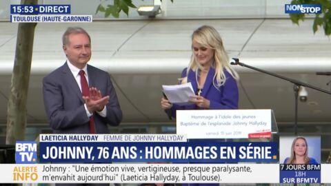 VIDEO Esplanade Johnny Hallyday à Toulouse: le clin d'oeil de Laeticia à Laura et David