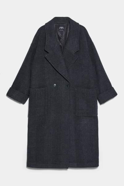 Manteau maxi oversize, Zara, 89,95€