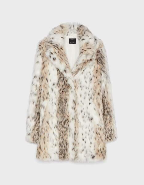 Manteau en fausse fourrure léopard, Bershka, 79,99€