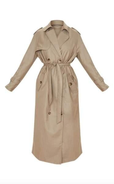 Trench coat oversize tissé gris pierre, PrettyLittleThing x Little Mix, 65€