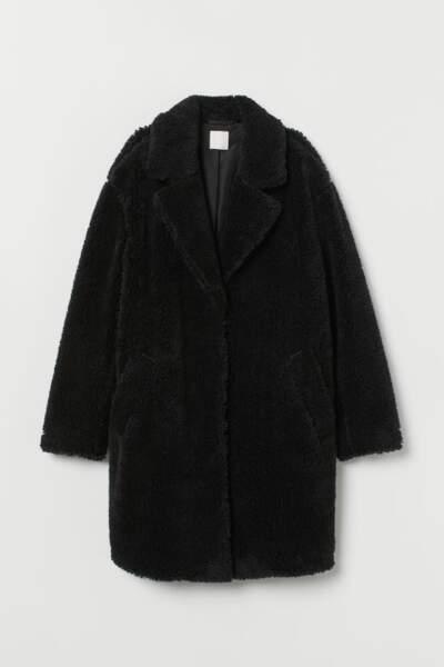 Manteau en peluche noir, H&M, 69,99€