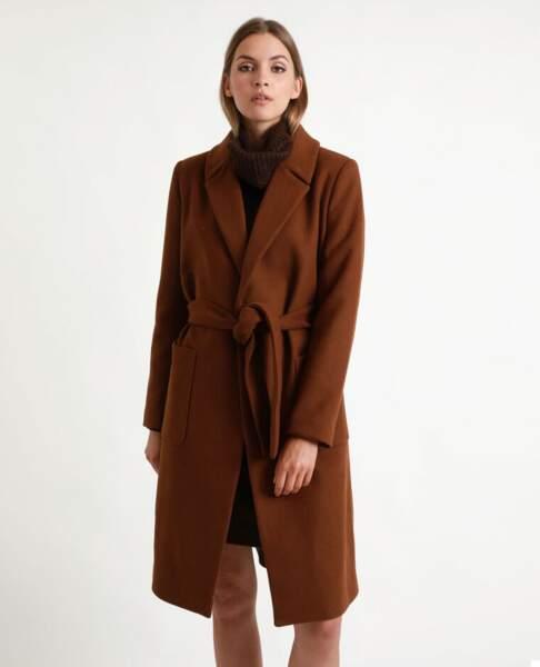 Manteau drap de laine marron, Pimkie, 65,99€