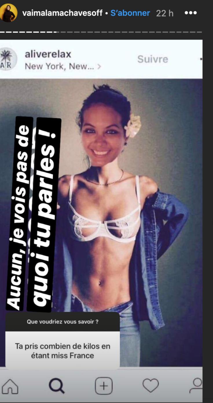 Vaimalama Chaves ironise sur son poids à l'approche de la fin de son règne Miss France
