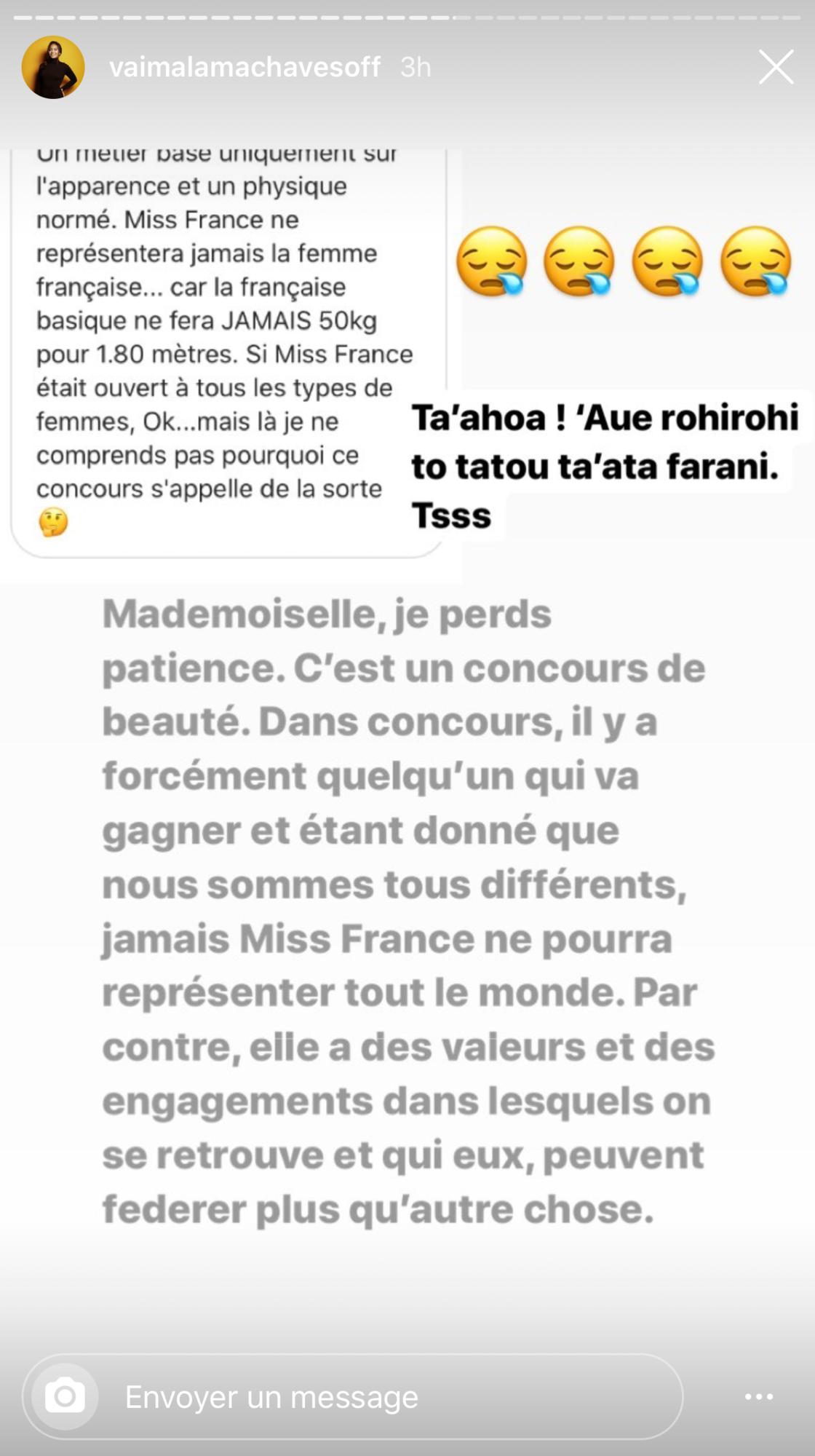 Miss France 2020 : Vaimalama Chaves « perd patience » face aux critiques et pousse un coup de gueule