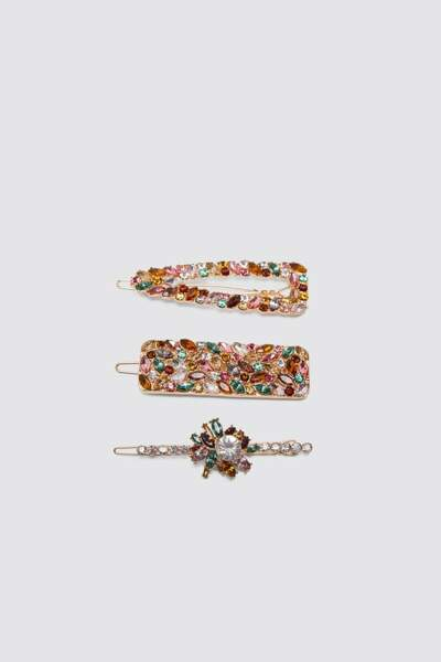 Lot de barrettes à strass multicolores, Zara, 12,95€