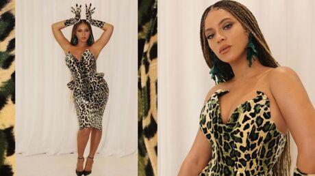 Beyoncé: sublime en robe bustier léopard colorée