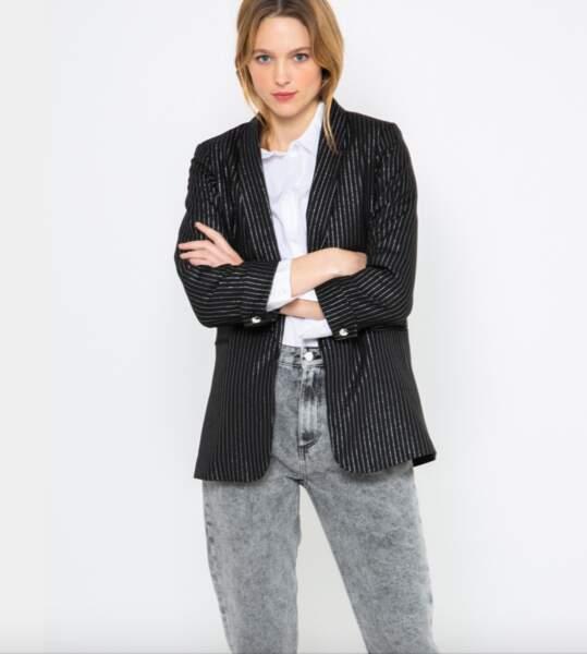 Veste de blazer rayée avec lurex, Camaïeu, actuellement à 27,59€