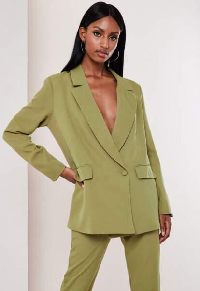 Blazer oversize vert olive, Missguided, 60,99€