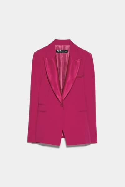 Veste de blazer avec col satiné, Zara, 59,95€