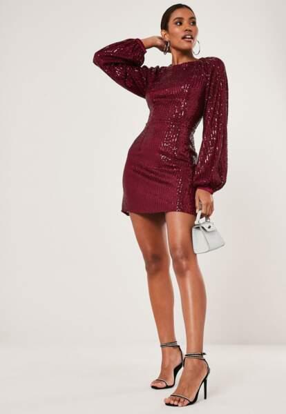 robe droite en sequin et manches ballons, Missguided, actuellement à 38,99 €