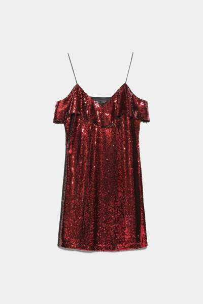 Robe mini à paillette, Zara, 39,95 €