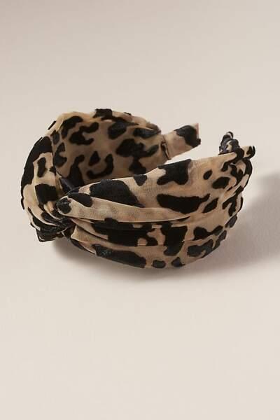 Serre-tête en velours dévoré motif léopard, Anthropologie, 35€