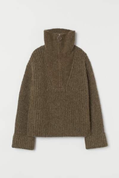 Pull en laine marron kaki chiné, H&M, 29,99€ au lieu de 69,99€