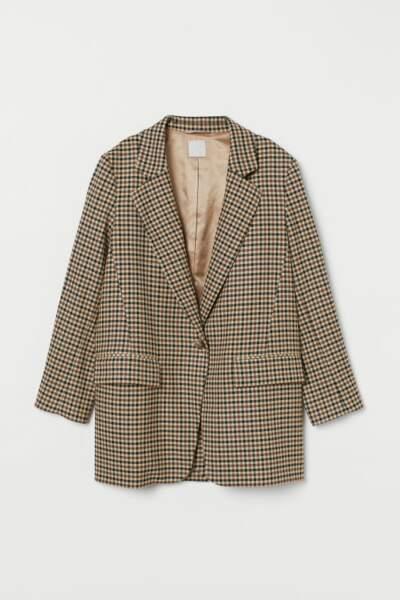 Blazer droit à carreaux, H&M, 34,99€ au lieu de 69,99€